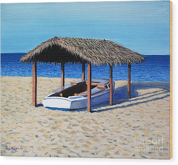 Sheltered Boat Wood Print by Paul Walsh