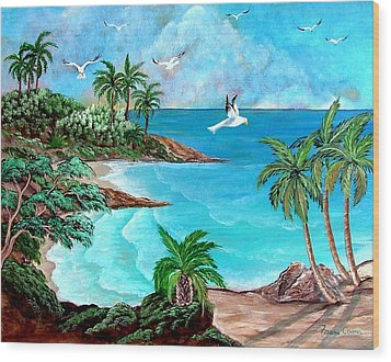 Sheltered Cove Wood Print by Fram Cama