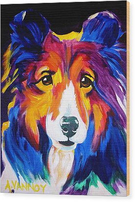 Sheltie - Missy Wood Print by Alicia VanNoy Call