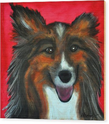 Wood Print featuring the painting Sheltie- Maggie by Laura  Grisham