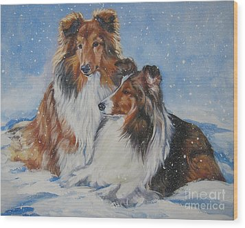 Sheltie Pair Wood Print by Lee Ann Shepard