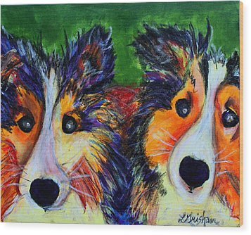 Sheltie- Whisper And Secret Wood Print by Laura  Grisham