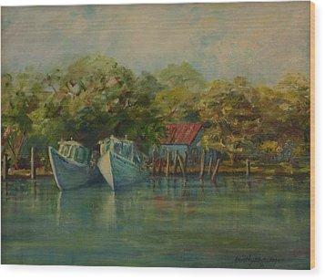 Shem Creek Boats Wood Print by Dorothy Allston Rogers