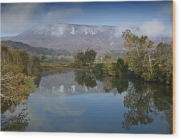 Shenandoah River South Fork - Snow On The Mountains - Virginia Wood Print by Brendan Reals