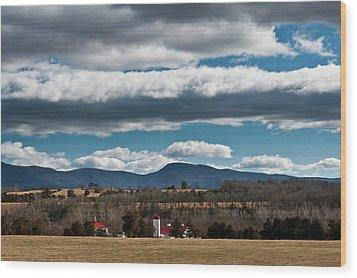 Wood Print featuring the photograph Shenandoah Valley Farm Winter Skies by Lara Ellis