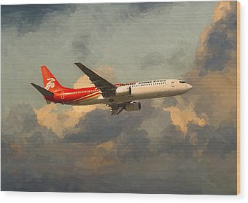 Shenzhen Airlines B739 On Route Wood Print by Nop Briex