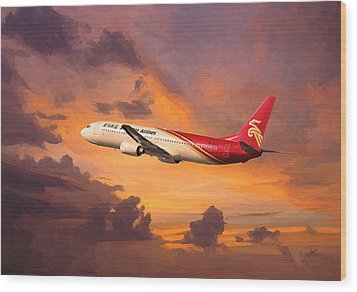Shenzhen Airlines Enroute Wood Print by Nop Briex