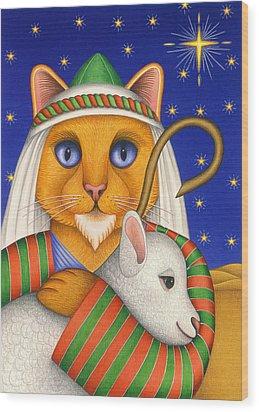 Shepherd Cat Wood Print by Carol Wilson