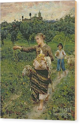 Shepherdess Carrying A Bunch Of Grapes Wood Print by Francesco Paolo Michetti