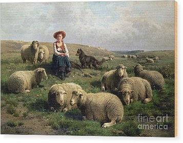 Shepherdess With Sheep In A Landscape Wood Print
