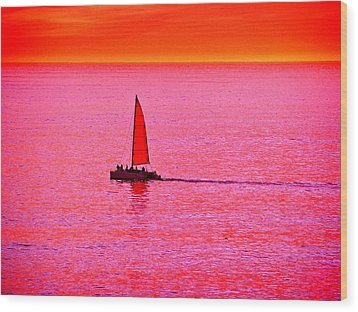 Sherbert Sunset Sail Wood Print by Michael Durst