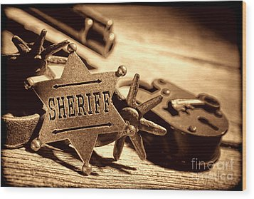 Sheriff Tools Wood Print by American West Legend By Olivier Le Queinec