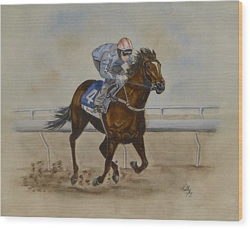 She's Taking The Lead ... Horserace Wood Print by Kelly Mills