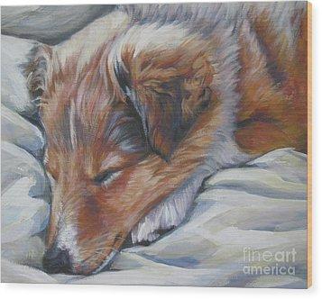 Shetland Sheepdog Sleeping Puppy Wood Print by Lee Ann Shepard