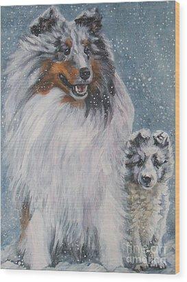Shetland Sheepdogs In Snow Wood Print by Lee Ann Shepard