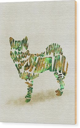 Wood Print featuring the painting Shiba Inu Watercolor Painting / Typographic Art by Inspirowl Design