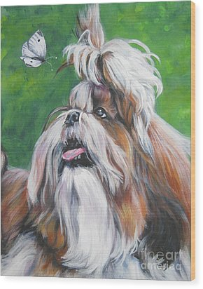 Shih Tzu And Butterfly Wood Print by Lee Ann Shepard