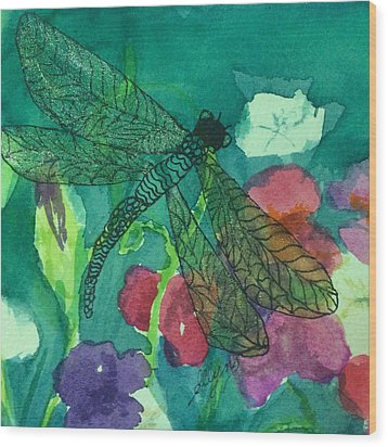 Shimmering Dragonfly W Sweetpeas Square Crop Wood Print