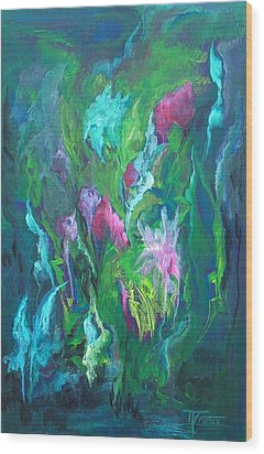 Shimmering Energy Wood Print by Michele D B