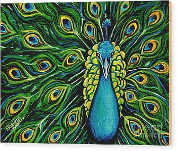 Shimmering Feathers Of A Peacock Wood Print by Elizabeth Robinette Tyndall
