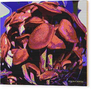 Shimmering Shrooms Wood Print by DigiArt Diaries by Vicky B Fuller