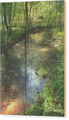 Wood Print featuring the painting Shimmering Stream by Sergey Zhiboedov