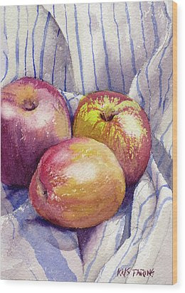 Wood Print featuring the painting Shine On 3 Apples by Kris Parins