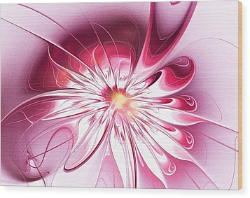 Shining Pink Flower Wood Print by Anastasiya Malakhova