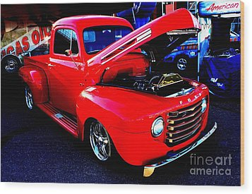 Shiny Red Ford Truck Wood Print