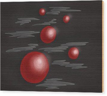 Shiny Red Planets Wood Print by Boriana Giormova
