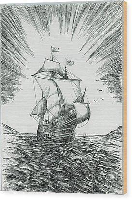Ship At Daybreak Wood Print by Samuel Showman