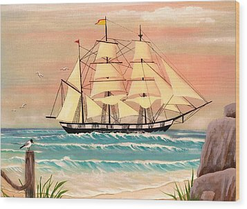 Ship At Sea Wood Print by Eileen Blair