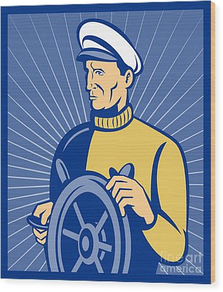 Ship Captain At The Helm  Wood Print by Aloysius Patrimonio