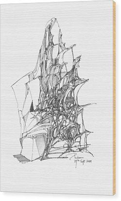 Ship Embedded In Rocks Wood Print