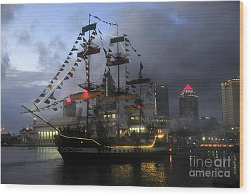 Ship In The Bay Wood Print