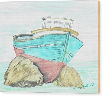 Ship Wreck Wood Print by Terry Frederick