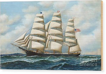 Ship Young America At Sea Wood Print by Pg Reproductions