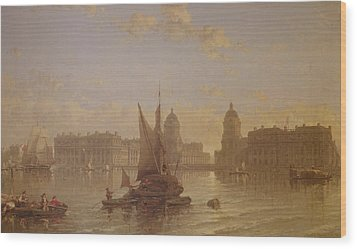 Shipping On The Thames At Greenwich Wood Print by David Roberts