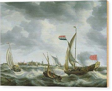 Ships At Sea  Wood Print by Bonaventura Peeters