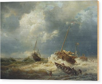 Ships In A Storm On The Dutch Coast Wood Print by Andreas Achenbach