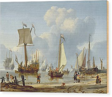 Ships In Calm Water With Figures By The Shore Wood Print by Abraham Storck