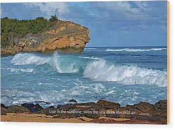 Shipwreck Beach Shorebreaks 2 Wood Print