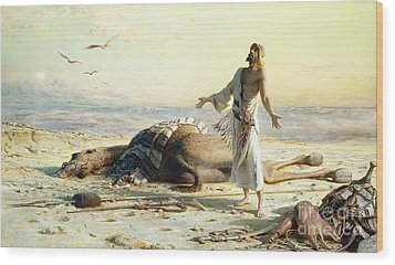 Shipwreck In The Desert Wood Print by Carl Haag