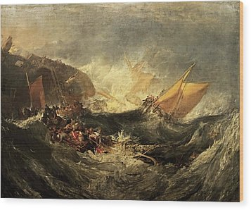 Wood Print featuring the painting Shipwreck Of The Minotaur by J M William Turner