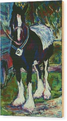 Shire Horse At Abergavenny Rally Wood Print by Judy Adamson