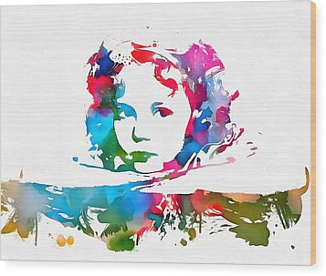 Shirley Temple Watercolor Paint Splatter Wood Print by Dan Sproul
