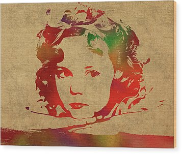 Shirley Temple Watercolor Portrait Wood Print by Design Turnpike