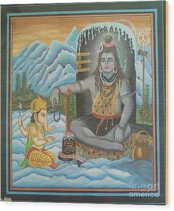 Shiv Ji Nd Ganesh Ji Wood Print by Ravi Kumar