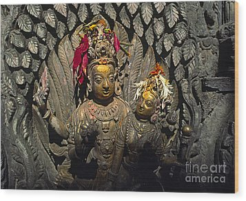 Shiva And Parvati - Pattan Royal Palace Nepal Wood Print by Craig Lovell