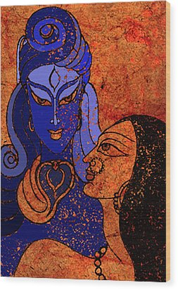 Shiva And Shakti Wood Print by Sonali Chaudhari